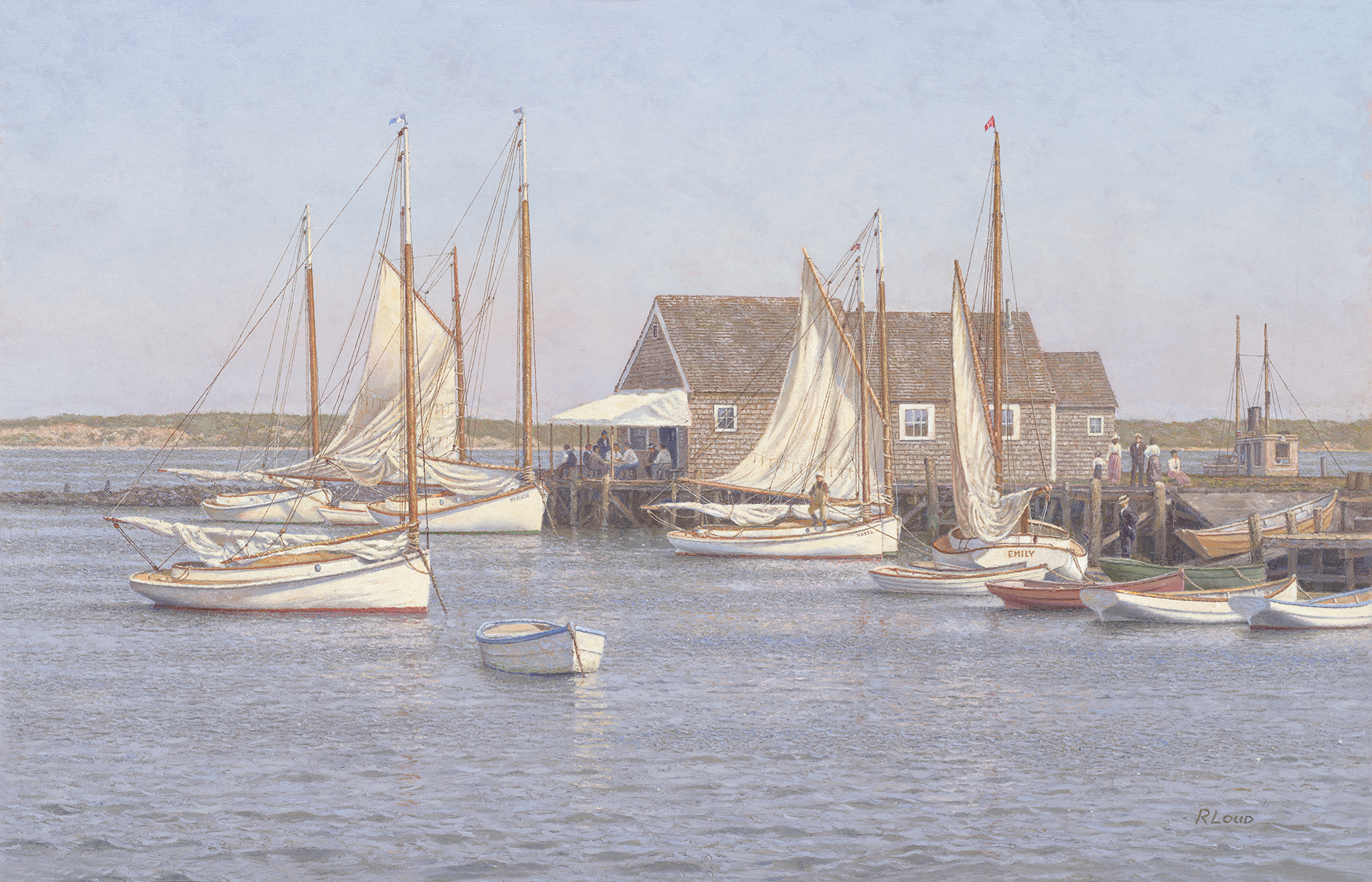 Drying The Sails, North Wharf, Nantucket C. 1900